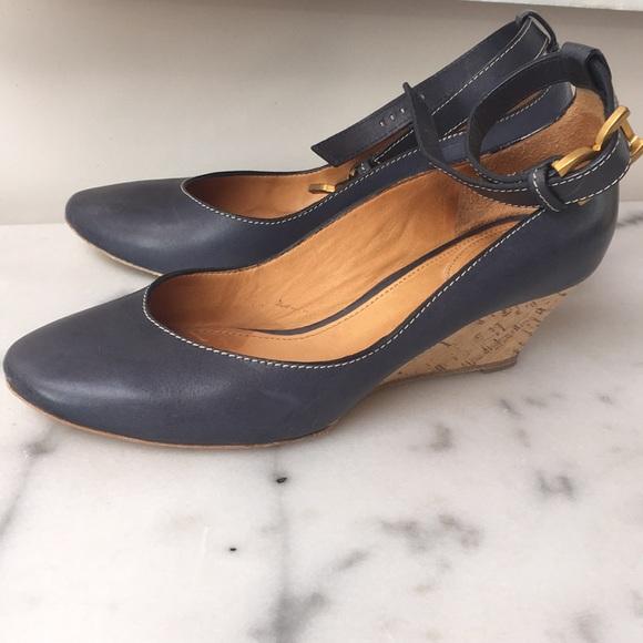 cf2dd144dd5 Chloe Shoes - HP🎊6 4 Chloe Navy Tucson Calf Cork Wedge IT38 🎉